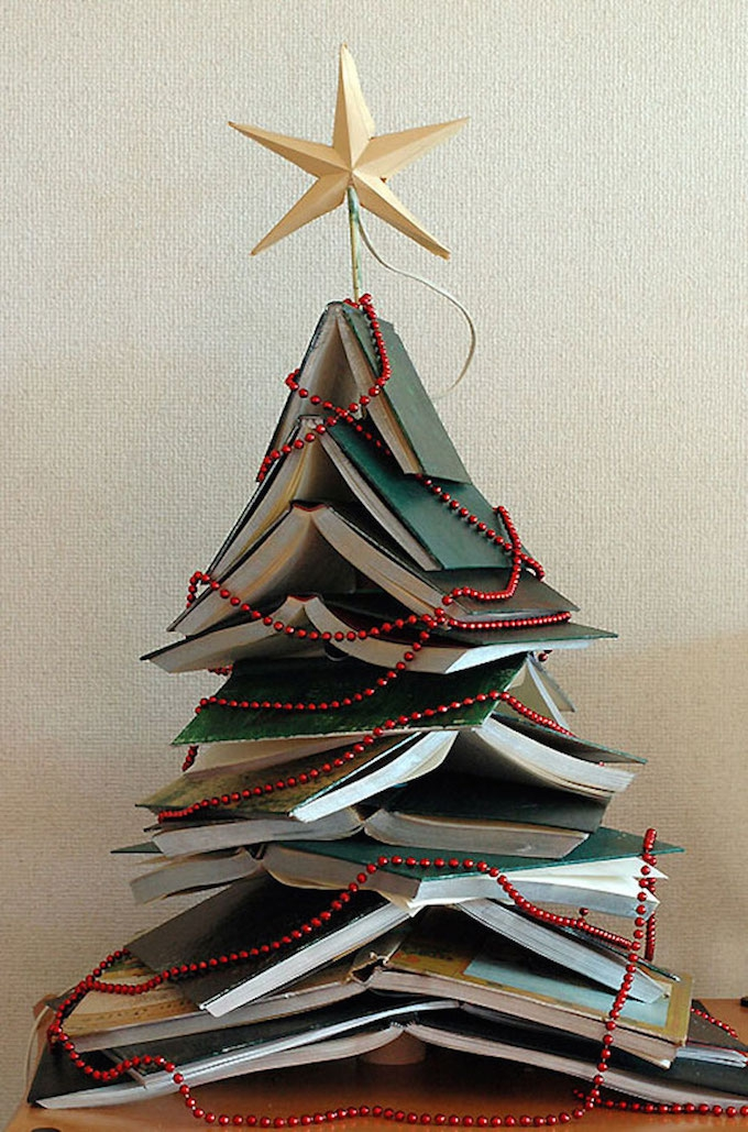 Cover your books in green paper for added festive charm.