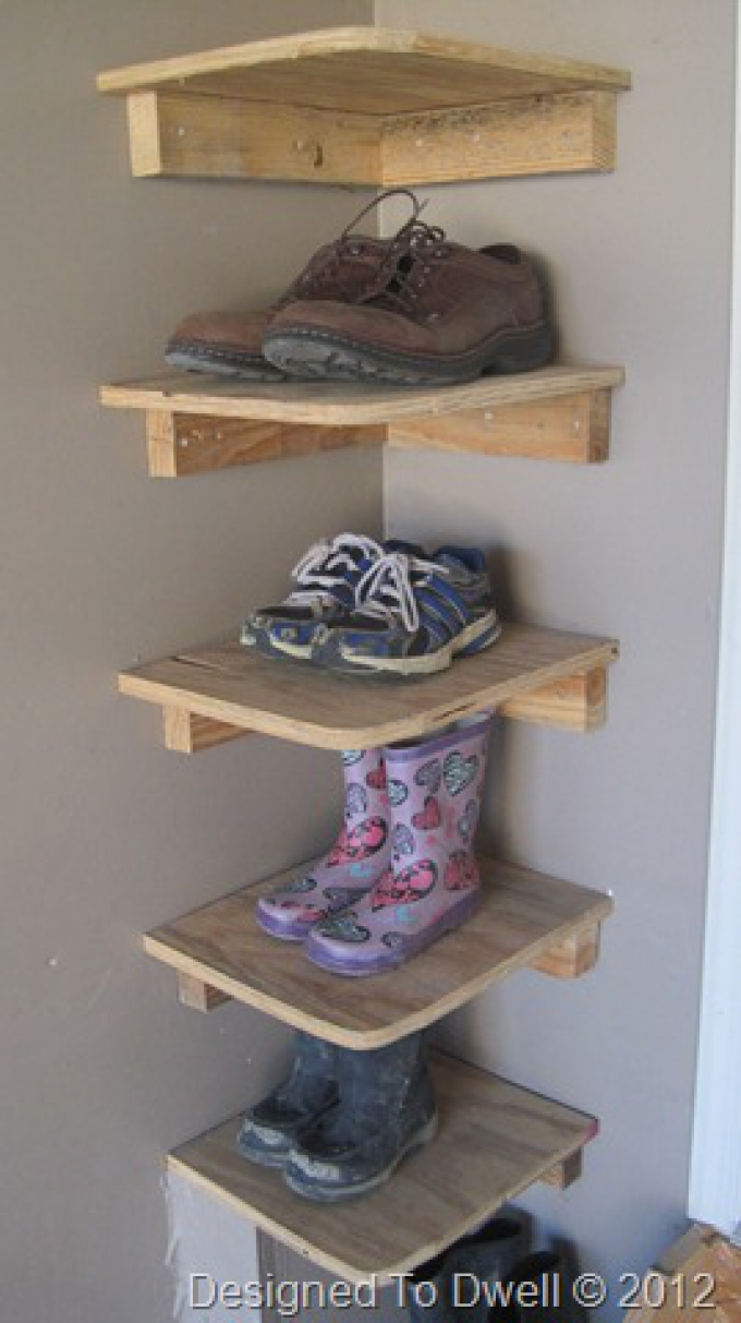 stack shoes in a spare corner