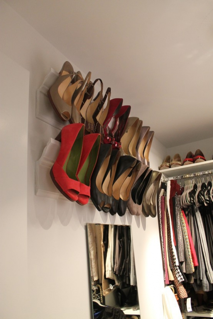Hang Up Some Coving On The Walls In Your Bedroom Or Wardrobe And Make The  Most Of The High Wall Space. Storing Shoes High Up Is An Instant Space  Saver.