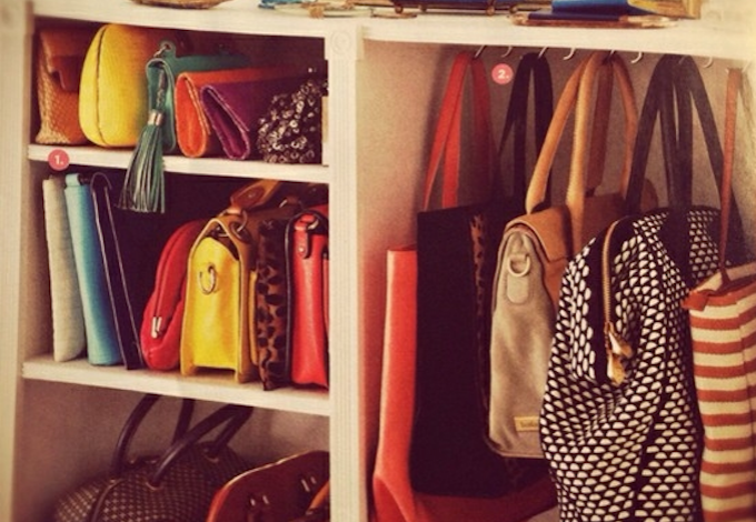 Hang your handbags to save floor space in your tiny wardrobe