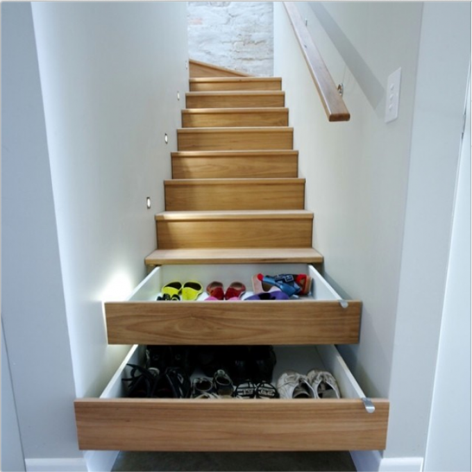 If you have the budget, installer roller drawers into your staircase will  revolutionise your home! You can keep hundreds of pairs of shoes in them as  well ...