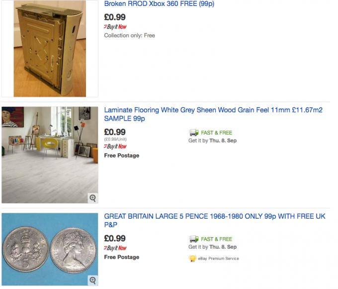eBay 99p listing examples