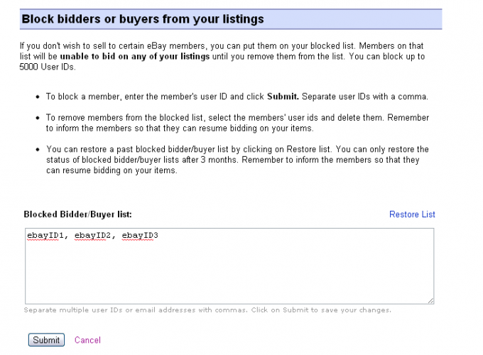 eBay block bidders