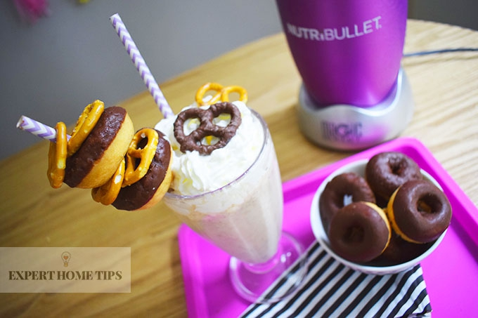 Salted Caramel, Pretzel & Peanut Butter Party Milkshake made with the NutriBullet