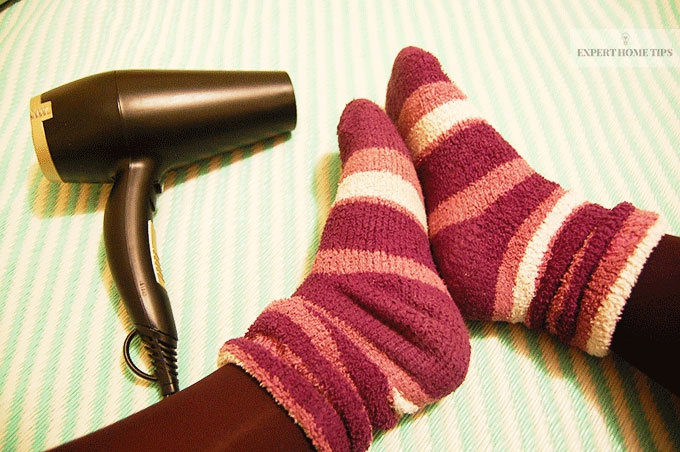 Socks and a hair dryer