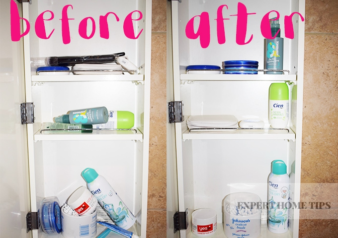 before and after bathroom decluttering