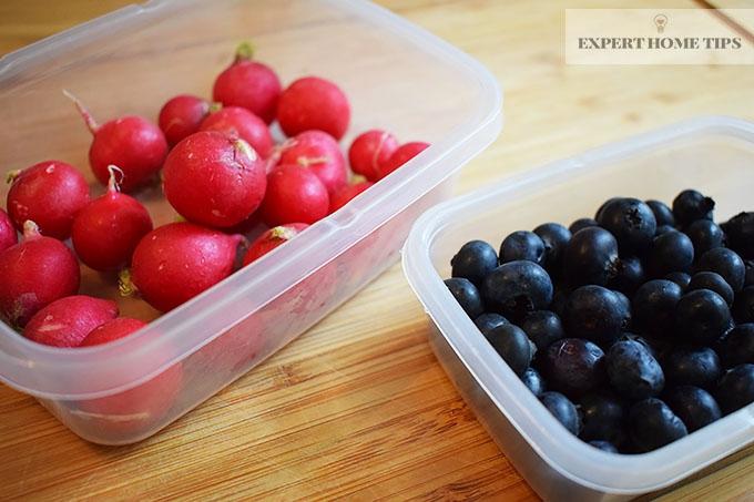 Tub of radishes & blueberries