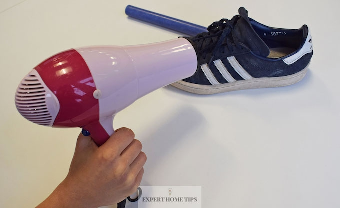 Waterproofing shoes with hairdryer & candle