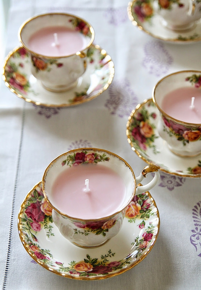 DIY Christmas Gifts Teacup Candles