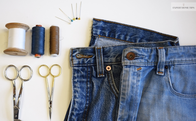 Jeans and sewing items