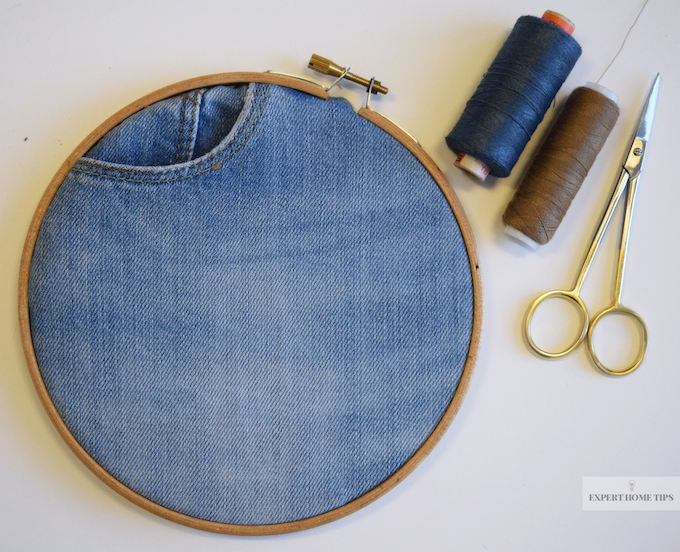 Denim embroidery hoop