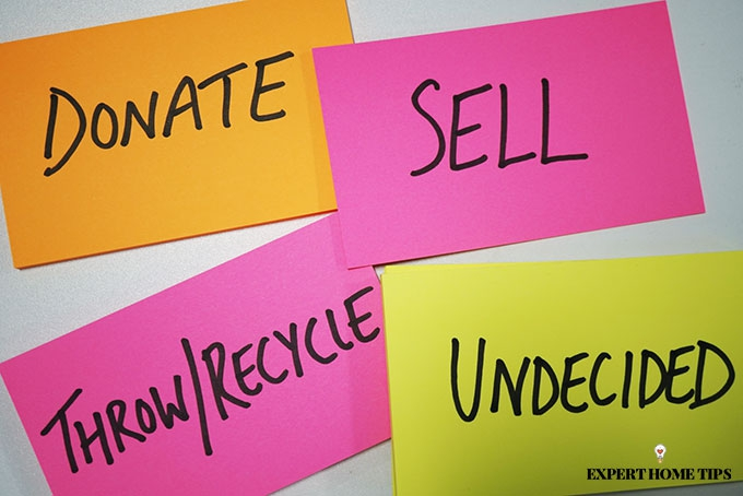 Donate, Sell, Throw/Recycle, Undecided Post It Notes