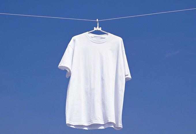 white t-shite outside