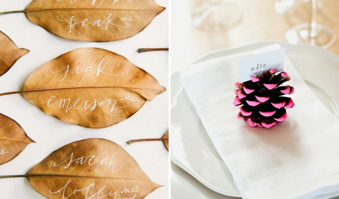 leaves & pine cones for cheap wedding decor