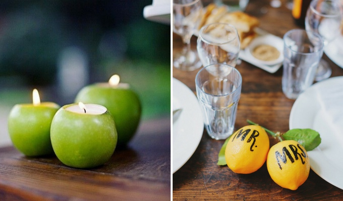 fruit used as cheap wedding decor
