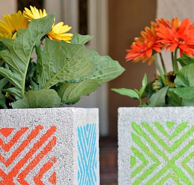 diy stencilled concrete block planters
