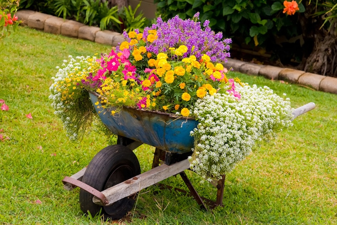 wheelbarrow planter garden decor