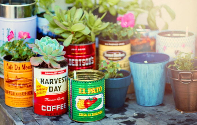 upcycled coffee tin planter