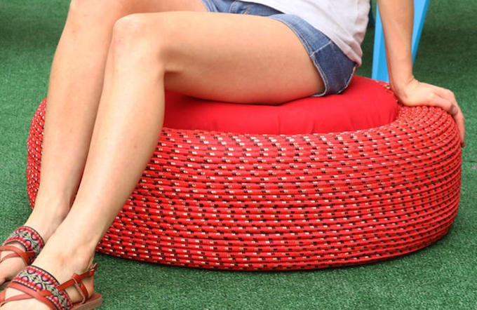 upcycled tire outdoor garden seating