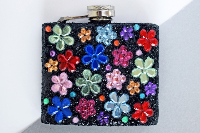 customised glitter & gem hipflask