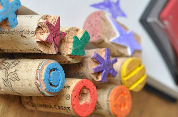 STAMPS MADE OF WINE CORK