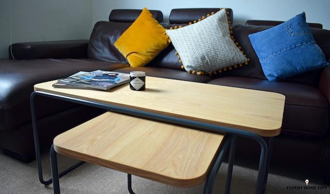 organised people tidy living room before bef