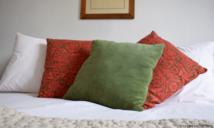 Bed pillows and throw
