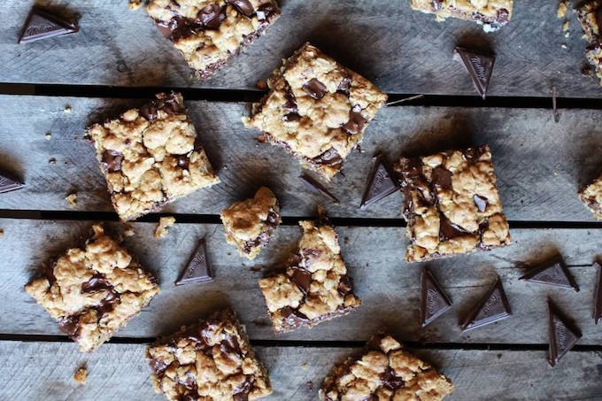 Healthy dark chocolate oatmeal cookie squares recipe