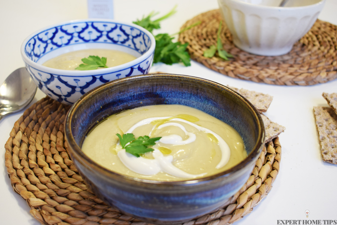 Vegan parsnip parsley truffle oil cashew cream soup recipe