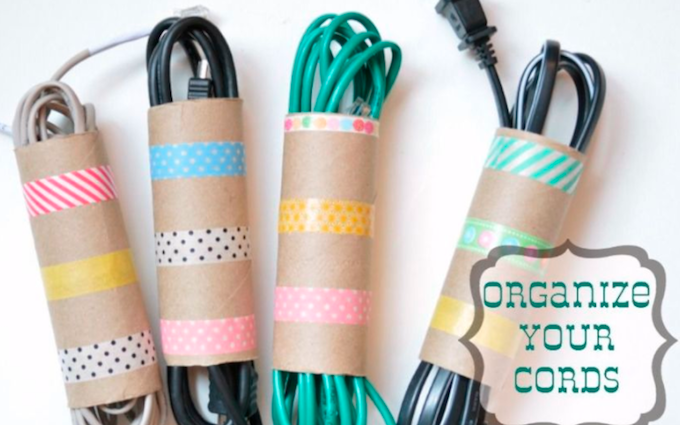 upcycle toilet rolls to keep wires tidy