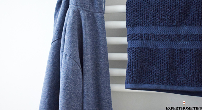 blue bathroom towels and dressing gown