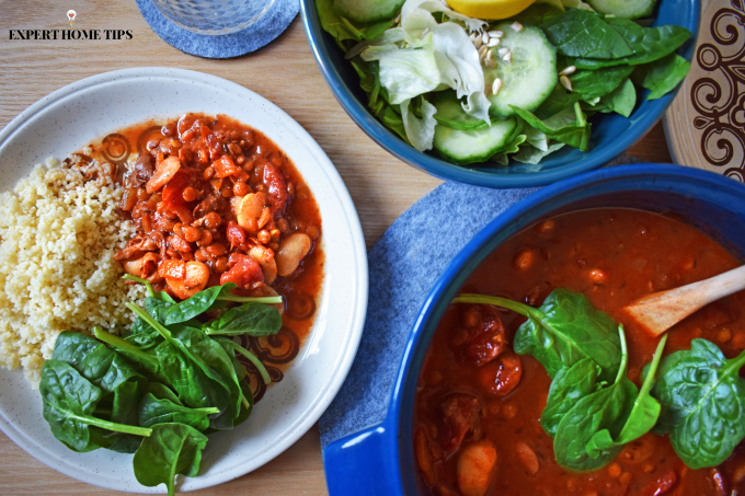 healthy bean stew with spinach recipe