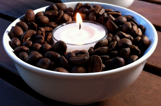 Oooh have you made me a coffee? Oh. It's a candle.