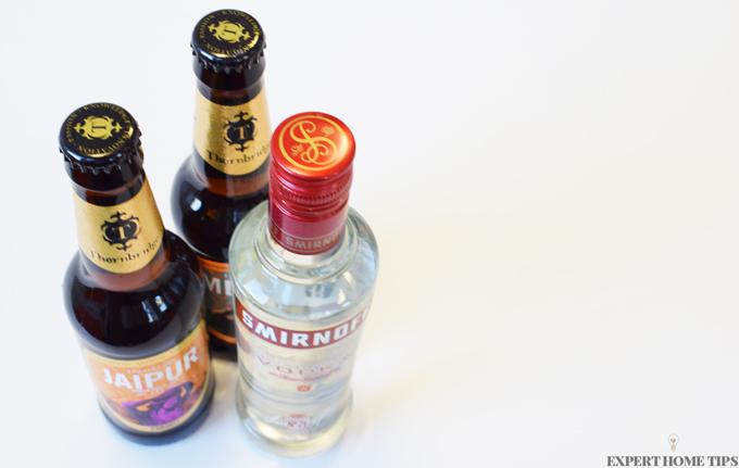 vodka and beer bottles