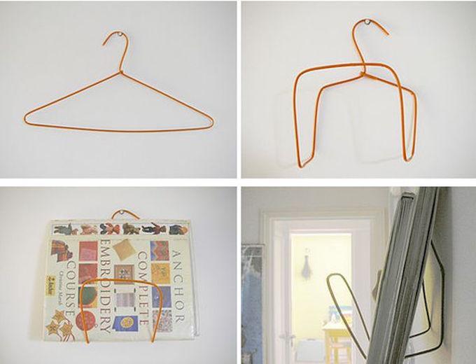 magazine rack wire coathanger DIY