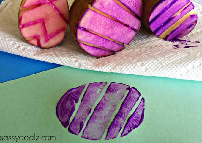 potato stamping easter egg
