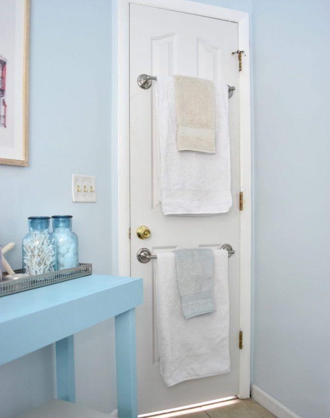 towel storage door rails