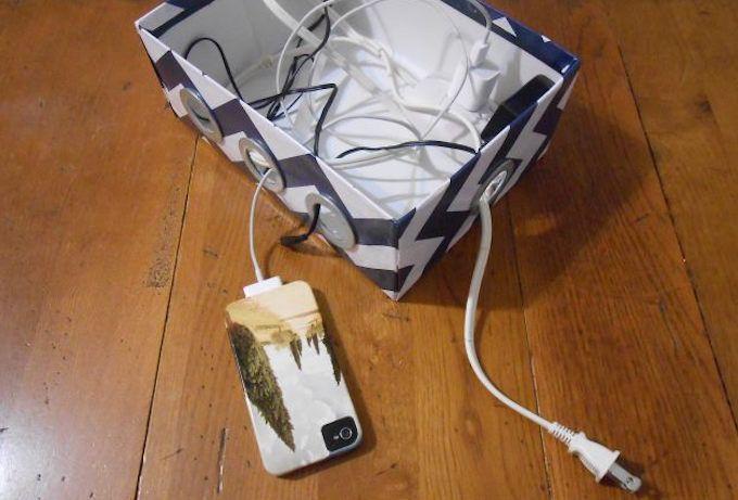 DIY charging station desk organiser