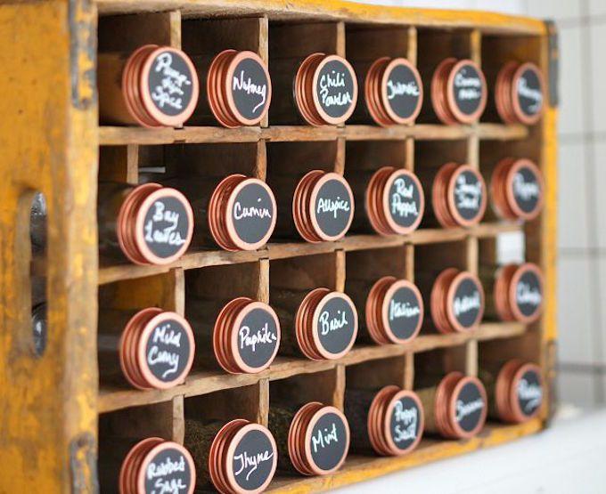chalk board paint spice jar labels