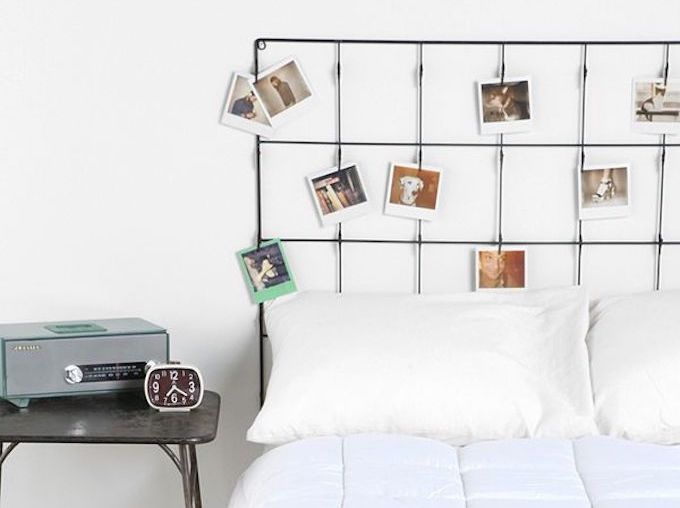 Metal grid headboard