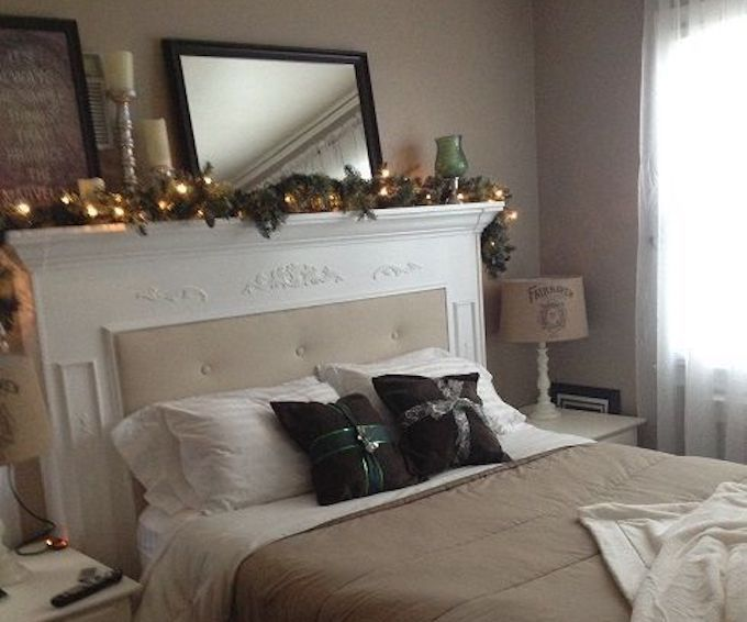 fireplace mantle headboard