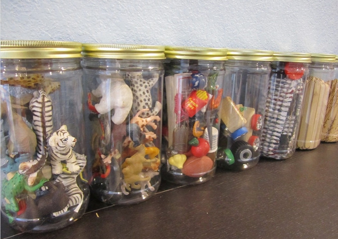 Store all your small bits and bobs in jars a la SafeStore.