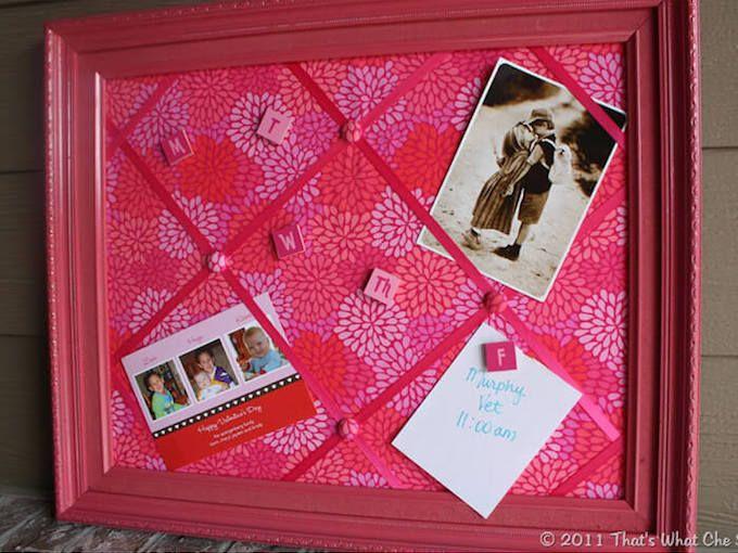 pink fabric notice board diy