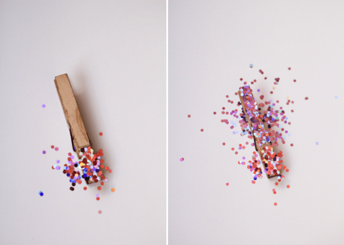 glittery clothespins