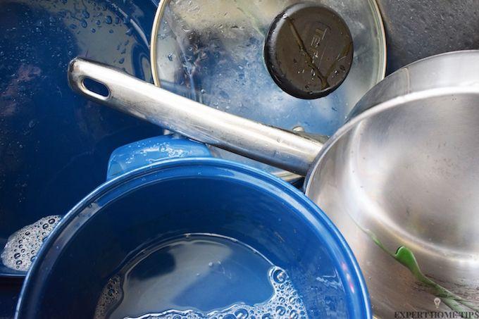 washing pots and pans