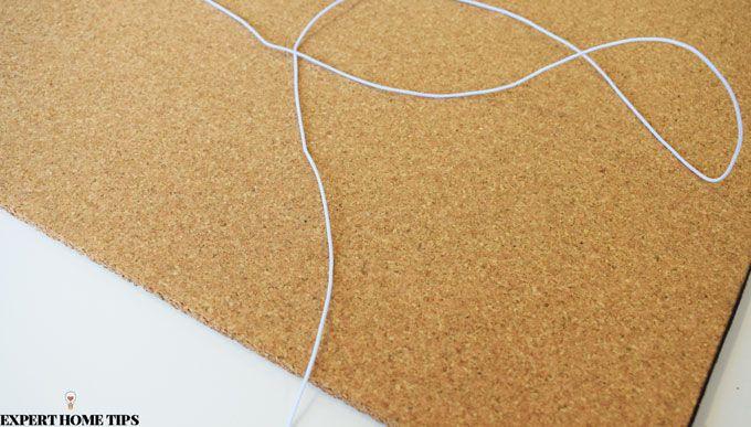 DIY noticeboard cork string