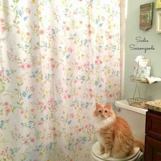shower curtain made from old vintage bed sheet