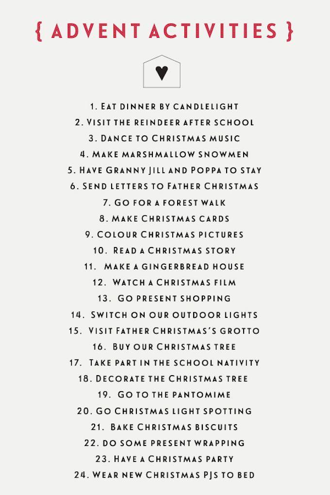 advent activity list