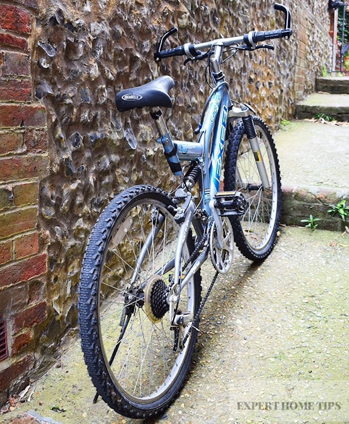 mountain bike outside home