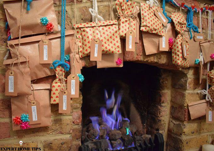 diy advent calendar over fireplace